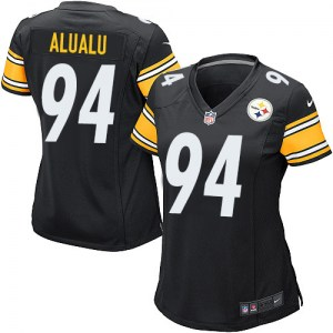 Nike Tyson Alualu Pittsburgh Steelers Women's Game Black Team Color Jersey